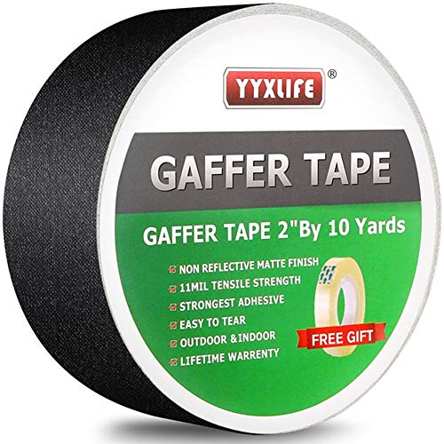 Premium Grade Gaffers Tape, Heavy Duty Non-Reflective Matte No Residue Gaff Main Stage Tape,Electrical Tape,Duct Tape for Photographers,Waterproof Gaffer Tape (2 Inch X 10 Yards, Black)