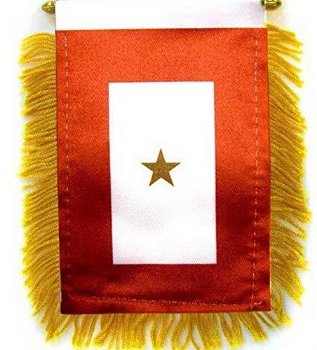 Kaputar 4 x 6 Military Gold Star Mini Banner Flag Gold Fringe Window Suction Cup K-I-A | Model FLG - 7816