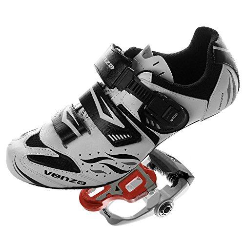 アノイコンテスト国民Venzo シマノSpdのS1のルックサイクリング自転車シューズ&封印されたペダル用ロードバイク 41