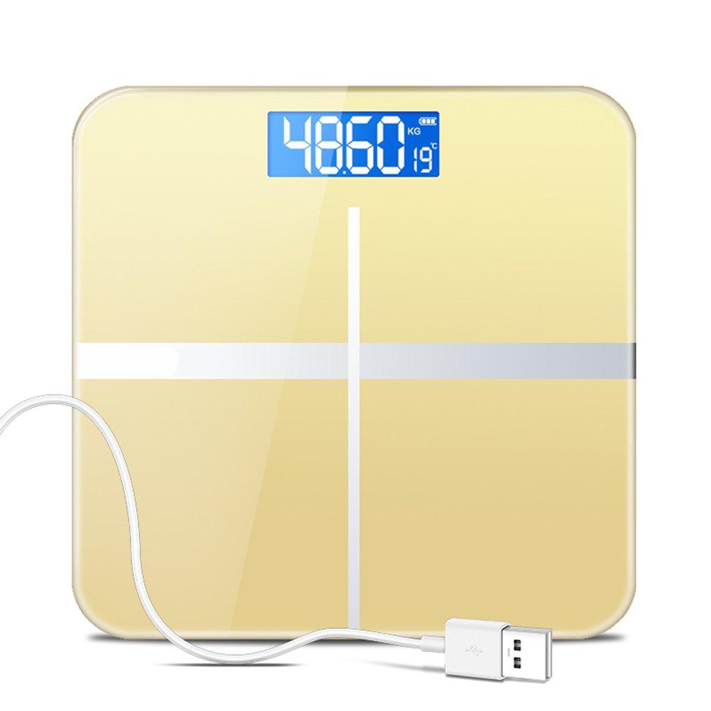 GUOYUN Amarillo USB Escalas electrónicas precisas Escalas de la salud Escala del cuerpo Termómetro interior Moderno interior simple interior Regalo ...