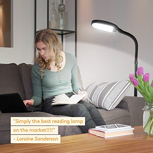 Brightech Litespan LED Reading and Craft Floor Lamp - Dimmable Full Spectrum Natural Daylight Sunlight LED Standing Light with Gooseneck for Living Room Sewing Bedroom Office Task - Black (Certified R by Brightech (Image #5)