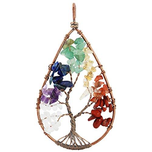 SUNYIK 7 Chakra Tumbled Stone Tree of Life Teardrop Pendant Necklace for Unisex (Jewelry Unique Fashion)