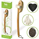 Dry Brushing Body Brush for Exfoliating Dry Skin to Get Glowing Tighter Skin - Body Brush Set Includes Exfoliatior...
