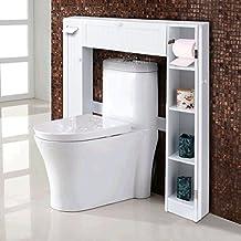 Giantex Over-the-Toilet Bathroom Storage Cabinet Wooden Drop Door Freestanding Spacesaver Improvements, White