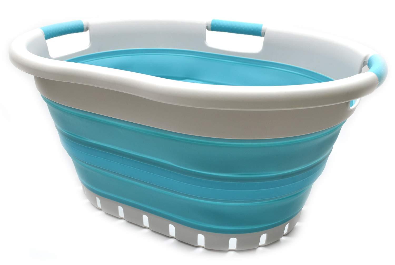 Contenedor de Almacenamiento emergente Plegable SAMMART Gris//Azul Brillante Cesta de lavander/ía Plegable de pl/ástico con 3 manijas Tina de Lavado port/átil Cesta de Ahorro de Espacio