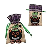 Halloween Decorations for Party Rick or Treat Candy Bags Black Cat Jewelry Kids Classroom Exchange Drawstring Bag Cosplay 1 Pack