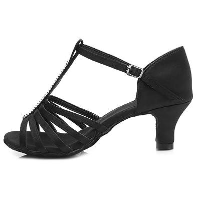 YFF Tanz Schuhe Frau Latin Dance Schuhe Tango Tanzen Schuhe, schwarz gold, 5 cm Absatz, 7.