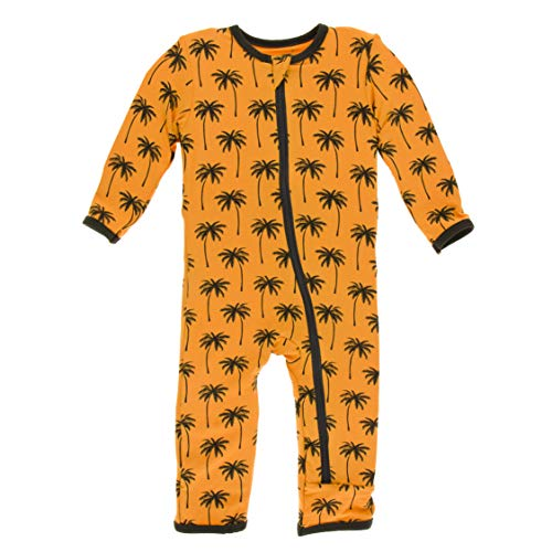 Kickee Pants Print Coverall with Zipper (Apricot Palm Trees - 3-6 Months)