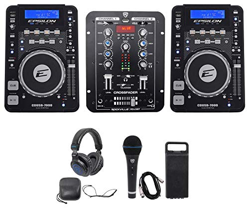 "2 Cerwin Vega CVE-10 1000w 10"" Active DJ PA Bluetooth Speakers+Stands+Headphones"