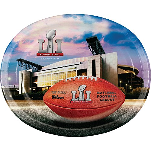 Creative Converting 321495 NFL Super Bowl LI 8 Count Oval Platters, 10 (8 Oval Bowl)