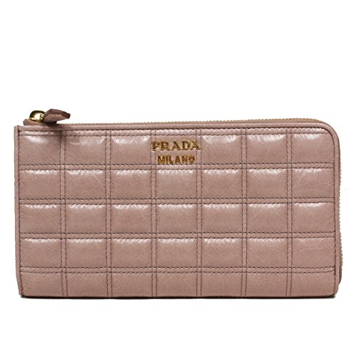 Prada 1M1132 Vitello Shine Quilted Leather Zip Around Wallet Portafoglio - Pink