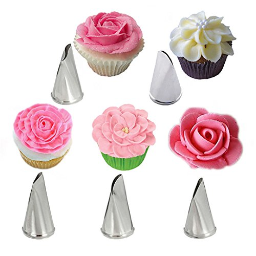 Meao 5 Pieces Piping Tips Set - Stainless Steel Piping Nozzles Kit for Pastry Cupcakes Cakes Cookies Decorating