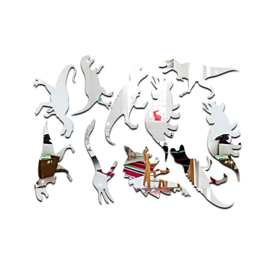 Zerama 10pcs / Set Espejo extraí ble Pegatinas de Pared esté reo Dinosaurio Etiqueta de la Pared Sala de Bricolaje niñ os decoració n de la Pared Arte de la Etiqueta