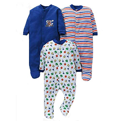 VADMANS 100% Hosiery Cotton Unisex Long Sleeve Rompers/Onesies/Sleepsuit/Full Body-Suit for Baby Boy and Girl/Infants Combo Pack of 3 (Navy Blue, 6-9 Months)