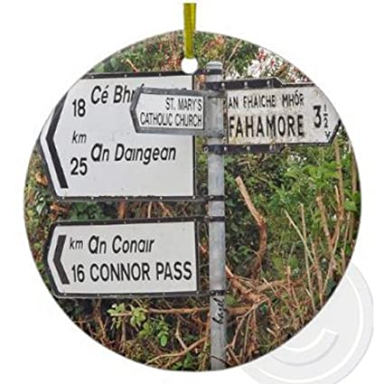 Merry Christmas In Irish.Amazon Com Irish Dingle Road Signs Christmas Ornament