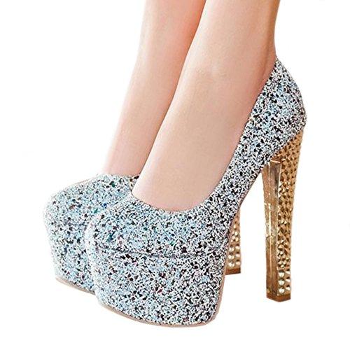 Heel blue Thick Colorful 36 cut light High Paillette Platform Super Thin Shoes Low HAwqU1dA