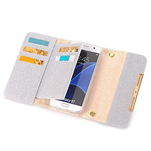 Apple iPhone 6 Case Wallet Cover,MEILIIO Luxury Glitter Powder Bling PU Leather Flip Zipper Wallet Cover Cards Slots Lady Multi Envelope Wristlet HandBag for Apple iPhone 6,iPhone 6S 4.7 inch (Grey) by MeiLiio (Image #2)