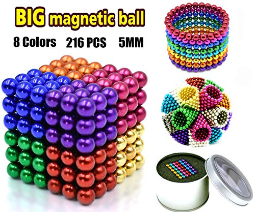 Coolpay 8 Colors 216 Pcs 5MM Magnets DIY Toys Magnetic Fidget Blocks Building Blocks for Development of Intelligence Learning and Stress Relief Gift for Adults or Kids