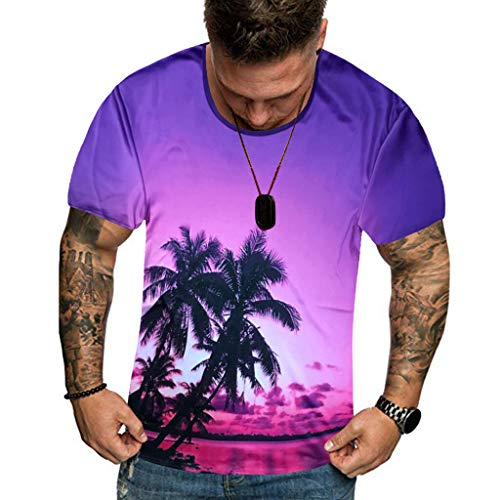 iHPH7 T-Shirt 3D Tees Superhero Fitness Shirt Summer New Full 3D Printed T Shirt Plus Size Cool Printing Top Blouse Men (XL,1- Purple) -