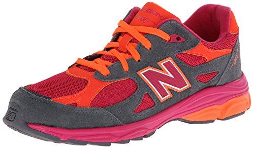 New Balance KJ990 Grade Lace Up Running Shoe (Big Kid), Grey/Pink/Orange, 5 M US Big Kid