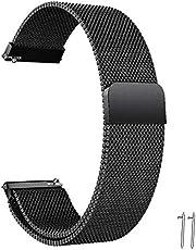 Snabbfrigörande klockarmband – 20 mm 22 mm flänsbredd rostfritt stål metallrem milanesiskt nätarmband magnetiskt lås ersättningsband smart klocka armband för män kvinnor