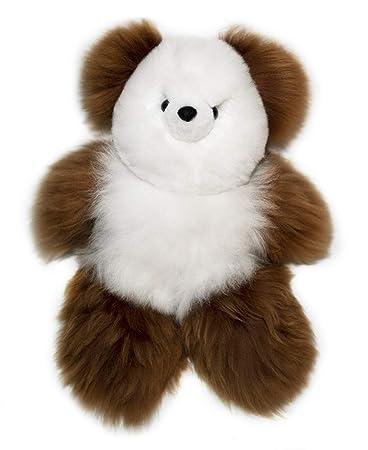 Amazon Com 12 Inch Brown And White Alpaca Fur Teddy Bear 100