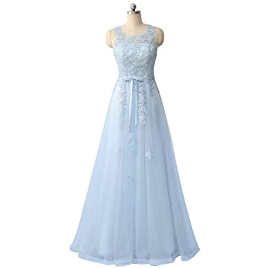 ANJURUISI Womens Light Blue Tulle Prom Dresses Applique A Line Evening Gown Light Blue 22