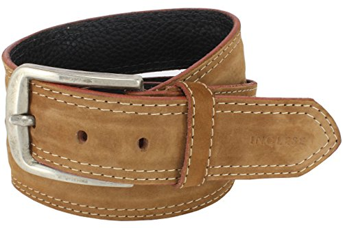 INGLESE Men Leather Belt, Light Brown Suede, 1.50'' in width, Classic & (Light Brown Nubuck Leather)