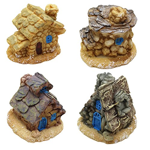 LJY 4 Pieces Miniature Fairy Garden Stone Houses - Mini Fairy Cottage Houses for Garden & Patio Decoration - Accessories for Home Decoration Outdoor Décor