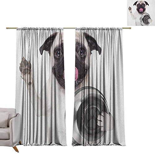 berrly Tie Up Shades Rod Blackout Curtains Pug,Cute Pug Holding Food Bowl and Licking Its Lips Hunger Image Raising Its Hand, Cream Silver Black W84 x L96 Adjustable Tie Up Shade Rod Pocket Curtain Brown Hand Beaded Bowl