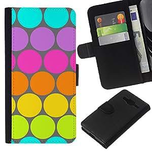 A-type (Dot Pattern Blue Lime Green Colorful) Colorida Impresión Funda Cuero Monedero Caja Bolsa Cubierta Caja Piel Card Slots Para Samsung Galaxy Core Prime