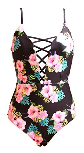 One Pieces Solid Floral Pin Up Sexy Women Front Strappy Cross Swimwear-KJQ999-BKF4