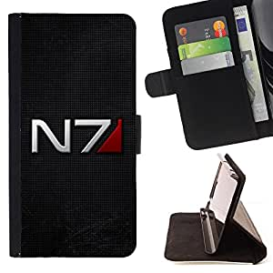 - N7 Space Command - - Prima caja de la PU billetera de cuero con ranuras para tarjetas, efectivo desmontable correa para l Funny HouseFOR Sony Xperia Z2 D6502