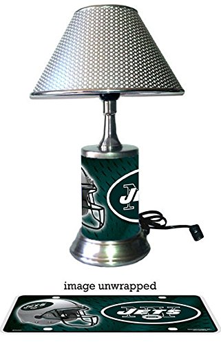 Rico Table Lamp with chrome shade, New York Jets plate rolled in on the lamp base