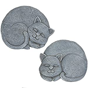 Bits and Pieces – Sleeping Cat Stepping Stones – Decorative Garden Stepping Stone – Yard Art
