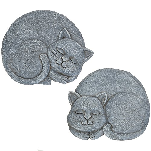 (Bits and Pieces - Set of 2 Sleeping Cat Garden Stones, 2 pc - Garden Décor for Lawn, Patio or Yard - Durable Polyresin Garden Stones)