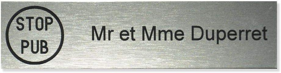 effet bois fonc/é lettres blanches 100x25mm Plaque boite aux lettres STOP PUB format Decayeux 2 lignes