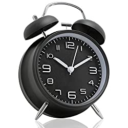Betus [Non-Ticking] 4 Twin Bell Alarm Clock - Metal Frame 3D Dial with Backlight Function - Desk Table Clock for Home & Office - Midnight Black
