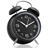 Betus [Non-Ticking 4'' Twin Bell Alarm Clock - Metal Frame 3D Dial with Backlight Function - Desk Table Clock for Home and Office - Midnight Black