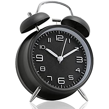"Betus [Non-Ticking] 4"" Twin Bell Alarm Clock - Metal Frame 3D Dial with Backlight Function - Desk Table Clock for Home & Office - Midnight Black"