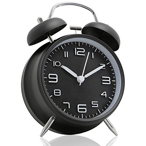 Betus [Non-Ticking 4'' Twin Bell Alarm Clock - Metal Frame 3D Dial with Backlight Function - Desk Table Clock for Home and Office - Midnight Black by Betus