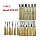 WAYCOM 24PCS Wood Knife Kit Set Wood Carving Kit,Professional Chisel Set, including Small, Middle, Large size (24PCS) (24pcs)