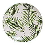 Bloomingville A21106758 Ceramic Jade Plate with Fern, Multicolor