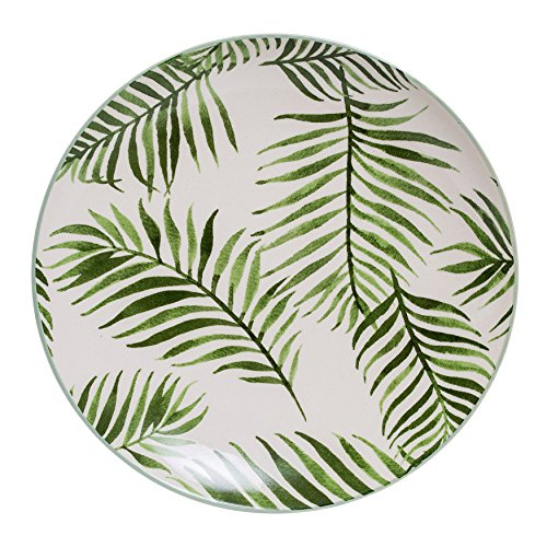 - Bloomingville Round Ceramic Jade Plate with Fern