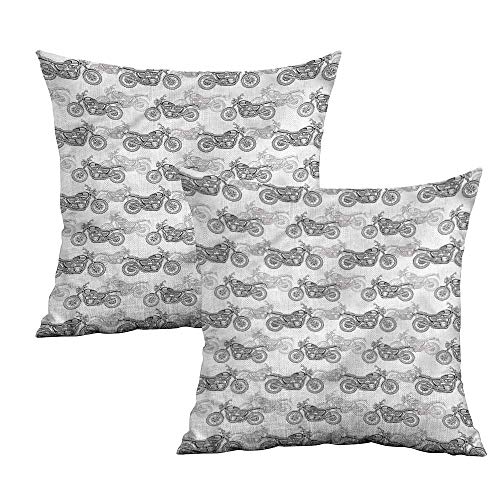 Khaki home Motorcycle Square Kids Pillowcase Details in Grayscale Square Standard Pillowcase Cushion Cases Pillowcases for Sofa Bedroom Car W 14