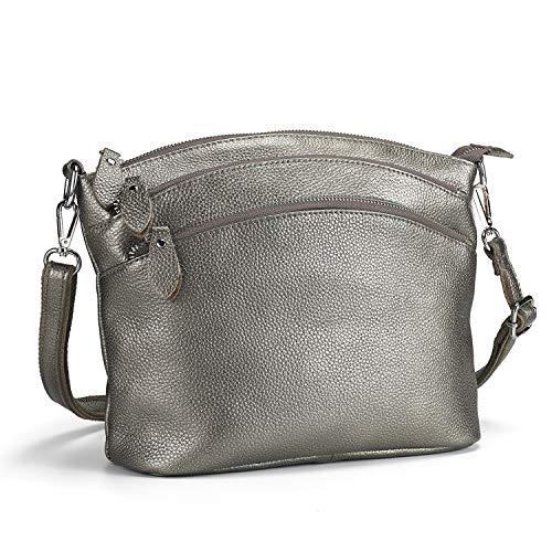 Lecxci Luxury Genuine Leather Cross Body Purses, Zipper Makeup Smartphone Wallets, Over The Shoulder Bags for Women Teen Girls (4 Zipper Pockets - Bronze Silver)