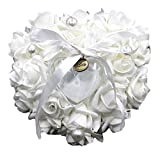 Best Ring Pillow With Pearl Rhinestones - Romantic Rose Wedding Favors Heart Shaped Pearl Gift Review