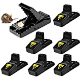 OASMU Mouse Trap,Rat Mice Traps Snap Work Power Rodent Quick Capture 100% Mouse Catcher Safe for Family and Pet,Sanitary, Easy to Set Reusable Mouse Control Snap Traps (6 Pack)