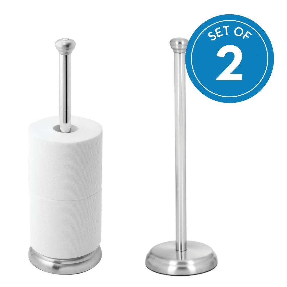 InterDesign York Metal Free Standing Toilet Paper Tissue Holder, Roll Reserve Canister for Kids', Guest, Master, Office Bathroom, 5'' x 5'' x 16.3'', Set of 2, Brushed Stainless Steel and Chrome