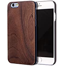iPhone 6 Case - Wood - Real Natural Walnut Wooden Backplate With Each its Unique Grain and Shock Absorbing Polycarbonate Protective Bumper